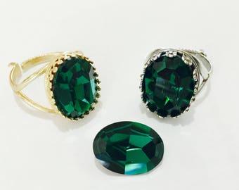 Emerald Green Antique Silver plated or Gold Brass Finger Ring Adjustable Cocktail w/ Swarovski Vintage Crystal Rhinestone gem Ladies Gift