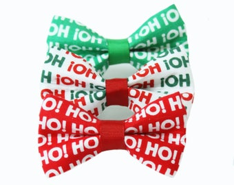 Santa's Cheer Bow Tie; Christmas Dog Bow, Holiday Bow Tie, Christmas Dog, HOHOHO
