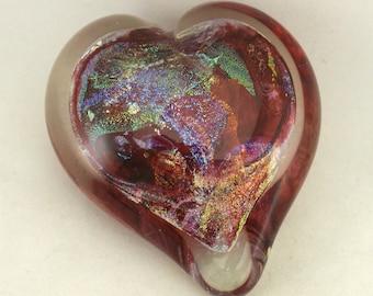 Ruby Dichroic Swirl heart