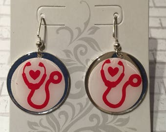Stethoscope earrings,Resin jewelry,vinyl earrings,handmade earrings,accessories,football season,college football