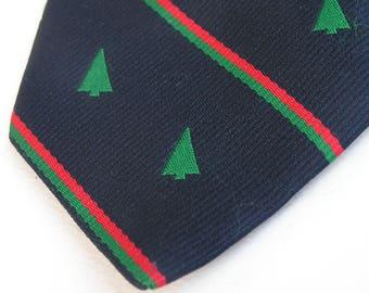 Vintage Christmas Tree Tie . 1980s Polyester Tie . Alynn Necktie . from Gokeys Saint Paul Minnesota