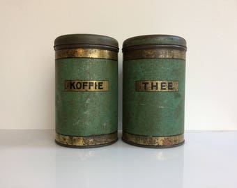 Pair of tin canisters coffee and tea from Holland 1940s