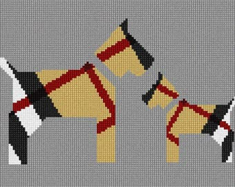 Needlepoint Kit or Canvas: Scottie Dogs