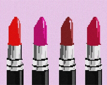 Needlepoint Kit or Canvas: Lipstick Choices
