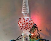 Christmas Tree Topper, Elegant Tree Topper, Tall Tree Topper, Hand Blown Tree Topper, Crystal Clear & Cranberry Red Tree Topper
