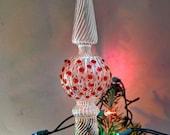 Christmas Tree Topper, eleganten Baum Topper, großer Baum Topper, mundgeblasene Baum Topper, Crystal Clear & Preiselbeere rote Baum Topper