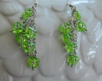 Bright Lime Green Triangle Chain Earrings