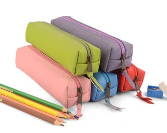 Leather Pencil Case- Rectangle. Zip closure. Available in lots of colors.