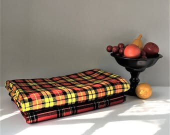 Plaid Viyella Fabric, 3 Yards Vintage Fabric, Tartan Piece Goods, Wool Cotton Blend, Yellow Red Black Plaid, British Country House Decor