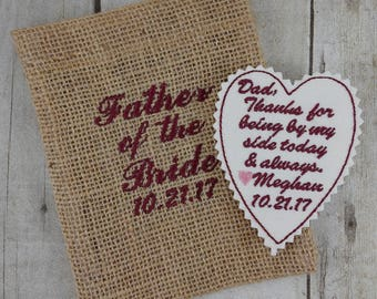Wedding Tie Patch - Father of the Bride Gift - Custom Embroidered - Groom - Best Man - Gift from Bride - Grandfather - Wedding Keepsake - A3