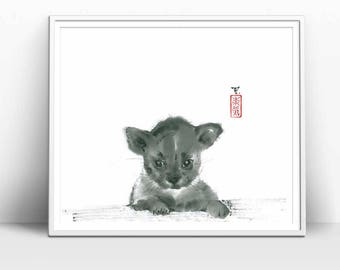 "Digital Download ""Puppy"" in Traditional Japanese Art Style, Black & White, Painted in Sumi-e style, Great Minimal, Asian Art Design"