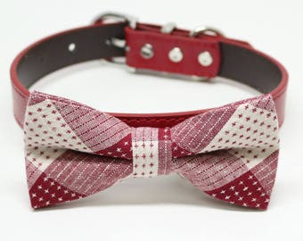 Red Dog Bow tie collar, Plaid bow tie, Pet wedding accessory, Dog lovers, Dog birthday gift