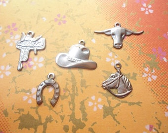 30 Assorted Cowboy Themed Charms