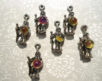 6 Silverplated Wizard Charm Pendants