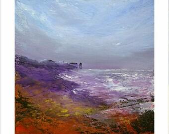Purple evening sea stack coastal landscape painting 30 x 30 cm  print