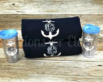 Monogrammed Beach Towel and Tumbler, Monogrammed Towel and Cup, Monogrammed Set, Monogrammed Bridesmaids Gift, Monogrammed Teachers Gift