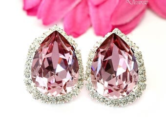 Crystal Stud Earrings Pink Earrings Blush Pink Earrings Light Pink Earrings Luxury Jewelry Teardrop Earrings Pink Bridesmaid Gift BP31S