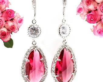 Ruby Earrings Bridal Earrings Wedding Earrings Halo Earrings Bridesmaid Gift Personalized Gift SterlingSilver Ruby Jewelry Rhinestone RP40HC
