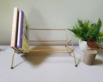 Vintage Mid Century Retro Gold Wire Book Rack CD/DVD Rack