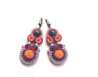 Earrings-Soutache-Hand Embroidered - Garden