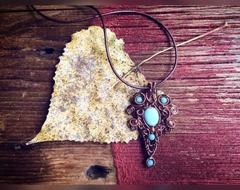 Wire Wrapped Pendant Amazonite Necklace Antique Copper Steampunk Fall Jewelry
