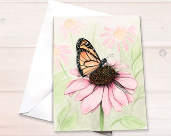 Butterfly notecards, watercolor notecard, monarch butterfly painting, blank notecard, personal stationery, watercolor butterfly, art reprint