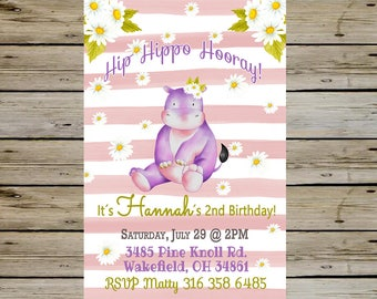 HIPPO BIRTHDAY INVITATION - Watercolor Hippopotamus Birthday Party - Hippo Birthday - Hippopotamus Birthday - Bday Invite - Birthday Card