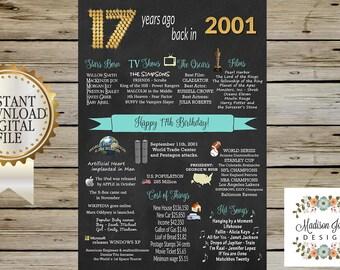 20x30 2001 BIRTHDAY CHALKBOARD - Instant Download Birthday Chalkboard - 17 years ago - Digital Printable - 2001 Birthday Sign