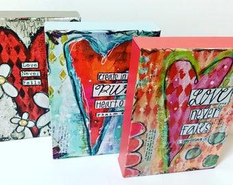 Scripture wall art, heart art