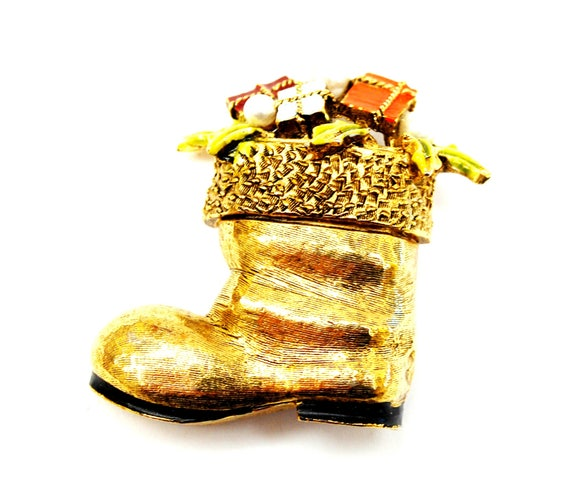 Christmas Stocking Brooch - Art Mode signed - gold boot- enamel presents -pearl - Holiday pin