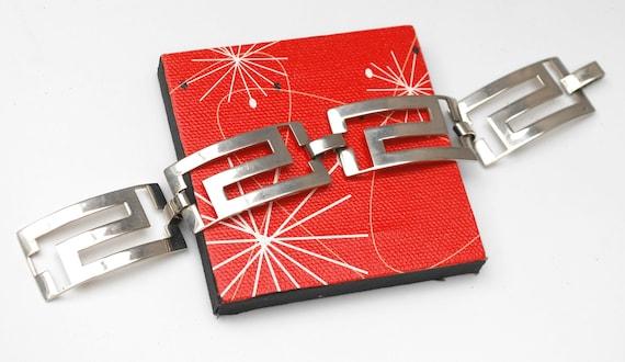 Sterling Panel link Bracelet - Silver Modernistic rectangle -  abstract mod bangle
