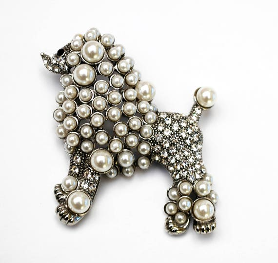 Poodle Brooch - Clear rhinestones - White pearl  - large  dog puppy -  figurine pin