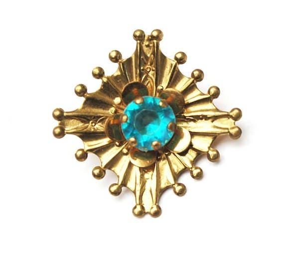 Atomic Brooch pendant - gold plated -Aqua blue Rhinestone - Mid Century pin