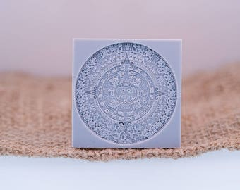 """Aztec  - Mandala Texture Stamp 38 X38  mm / 1 1/2"""" X 1 1/2"""" For PMC, Art Clay, Metal Clays, Polymer Clay, Fimo"""