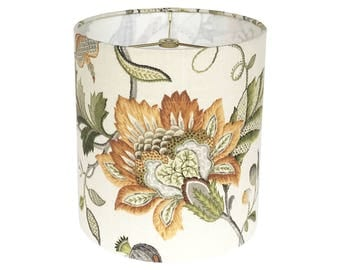 Floral Lamp Shade -Custom Lampshade - Brissac by P Kaufmann in Amber - Jacobean Floral Lampshades - Fabric Lamp Shades