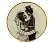 CIJ SALE Christmasinjuly Personalized Wedding gift, Halloween Wedding, Till Death Do Us Part, Bride Groom Skeleton, Customized Wedding, Vint