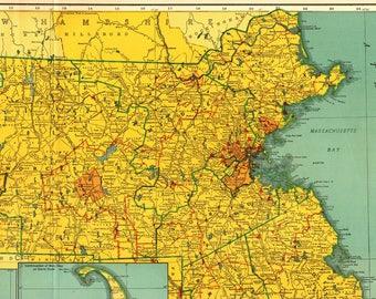 Rare Size Vintage MASSACHUSETTS Map w Railroads 1949 Antique Map of Massachusetts Gift for Traveler Birthday Wedding 2210