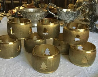 Brushed Brass Gold Metal Christmas Tree Cutouts/ Shaped Napkin Ring/Holders-Table Decoration-4 Pieces