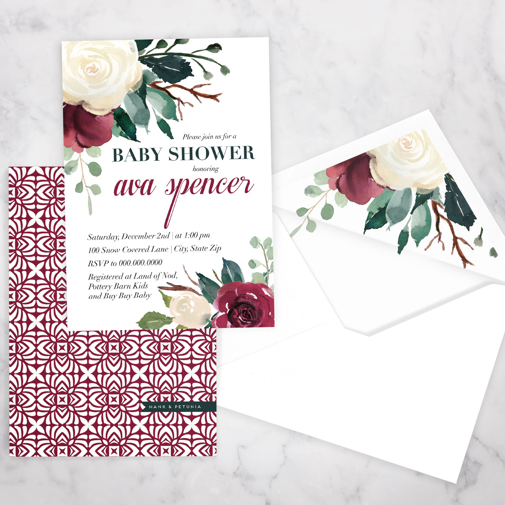 Winter Watercolor Floral Baby Shower Invitation Holiday or