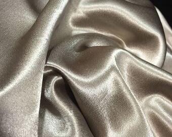 Taupe Satin Crepe Fabric, Satin Material, Shiny Material, Flowy Fabric, Material, Satin Crepe Fabric, Dress Fabric,