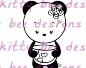 Definitely Tea Panda Digital Stamp