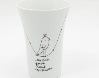 Thank you teacher big mug bird King on a customizable thread