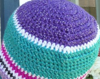 Glitter crochet beanie hat purple green pink  Scrap hat