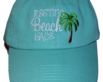 Resting Beach Face on a mint ball cap