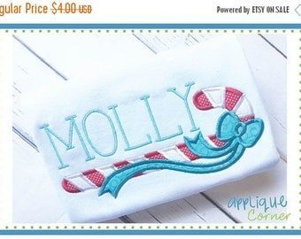 50% Off INSTANT DOWNLOAD 3510 Candy Cane with Name applique design in digital format for embroidery machine by Applique Corner