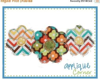50% Off 738 Flower Trio Raggy digital applique design for embroidery machine by Applique Corner