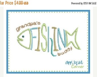 40% OFF INSTANT DOWNLOAD Grandpa's Fishing Buddy applique digital design for embroidery machine by Applique Corner