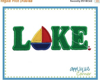 40% OFF INSTANT DOWNLOAD Lake with Sailboat applique design in digital format for embroidery machine by Applique Corner