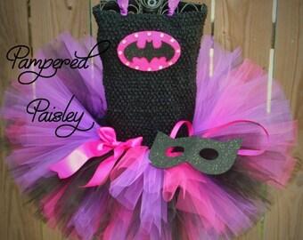 PRE HALLOWEEN SALE Superhero  tutu dress - bat costume Halloween - Birthday batgirl jewel dress - Batgirl Halloween Costume - Baby Batgirl