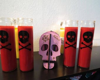 1 SKULL CANDLE with VINYL Design Choose your colors